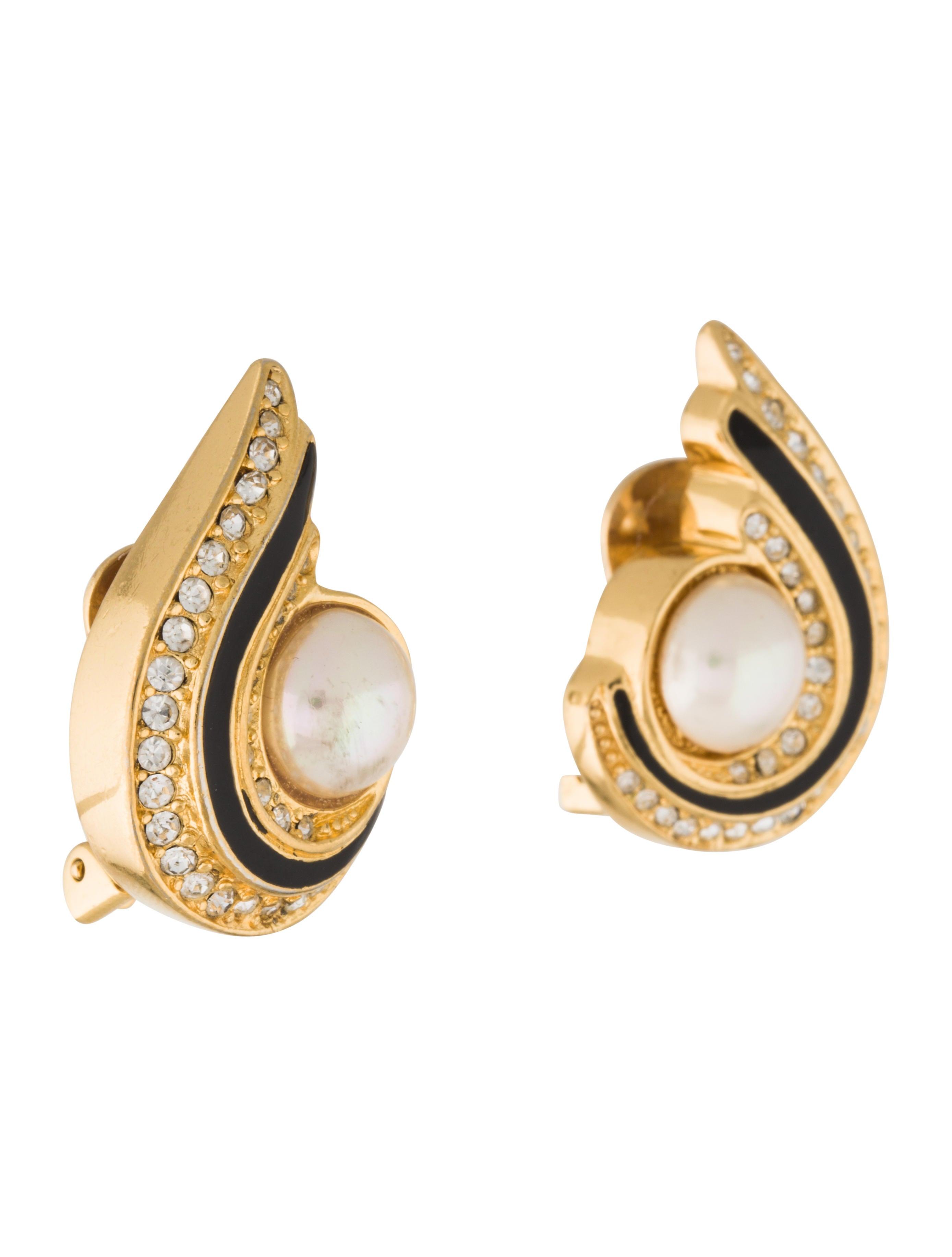 christian faux pearl clip on earrings