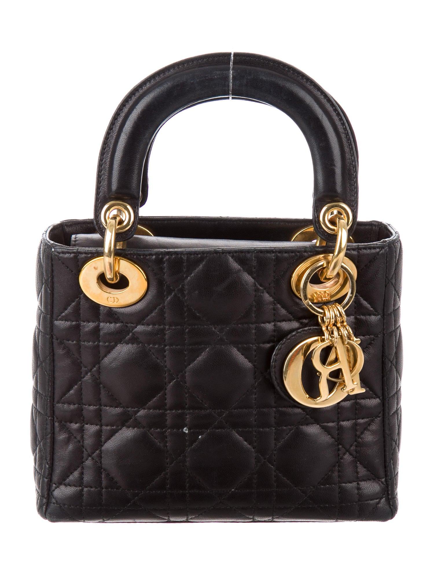 christian dior mini lady dior bag handbags chr59113 the realreal. Black Bedroom Furniture Sets. Home Design Ideas