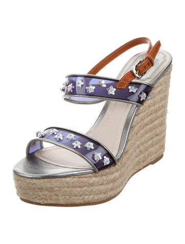 Christian Dior PVC Floral-Embellished Wedges free shipping visa payment clearance new arrival from china for sale sale 2015 outlet store sale online 3oT3uN7