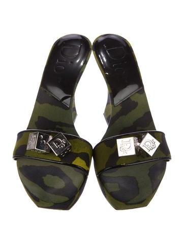Christian Dior Camouflage Canvas Slide Sandals cheap discount 7ZZDH