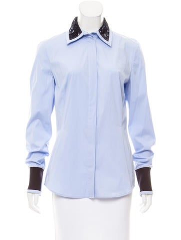 Christian Dior Sequin-Accented Button-Up Top None
