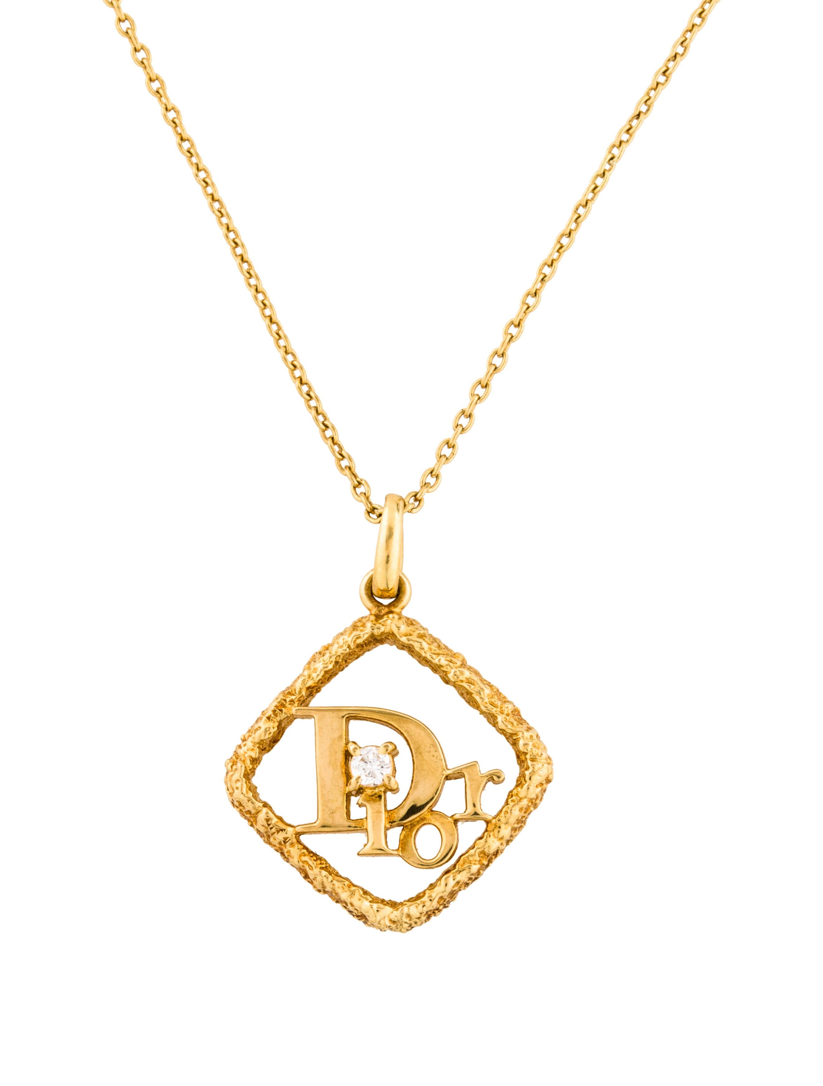 Christian dior 18k diamond signature pendant necklace necklaces 18k diamond signature pendant necklace aloadofball Gallery