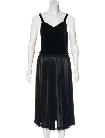 Christian Dior Velvet Pleated Dress None
