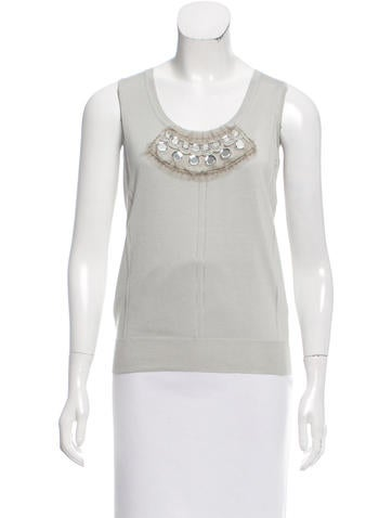 Christian Dior Embellished Silk Top None