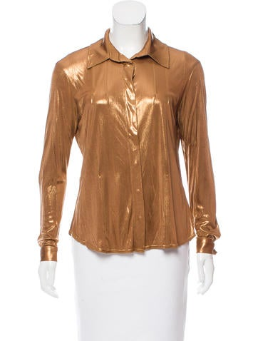 Christian Dior Long Sleeve Metallic Top None