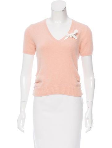 Christian Dior Angora-Blend Short Sleeve Top None
