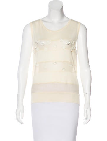 Christian Dior Wool & Silk-Blend Appliqué Top None
