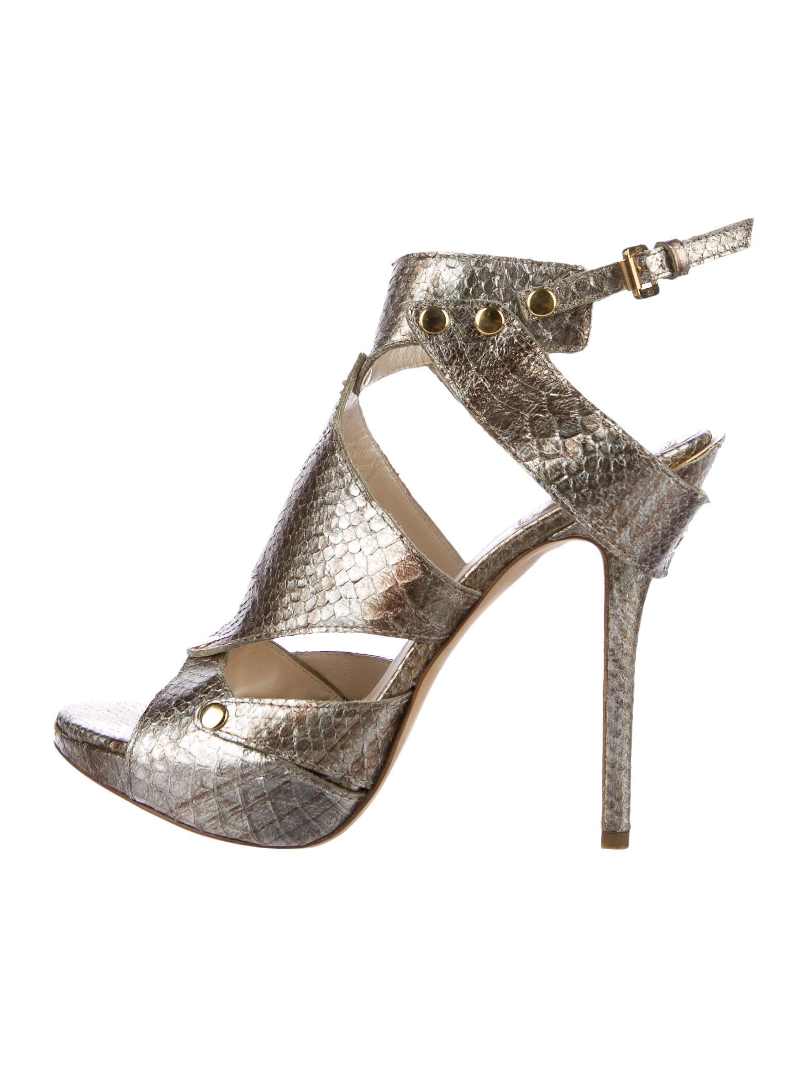 Christian Dior Embossed Metallic Sandals sale big sale lA97k