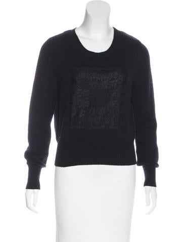Christian Dior Cashmere Lace-Paneled Sweater None