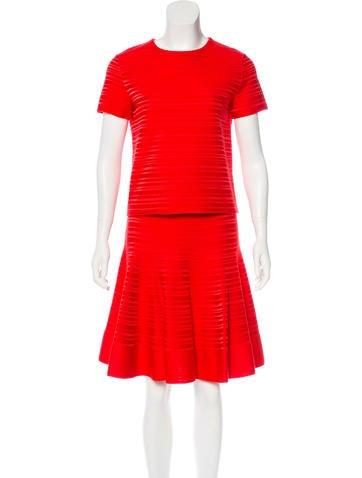 Christian Dior Silk Rib Knit Skirt Set None