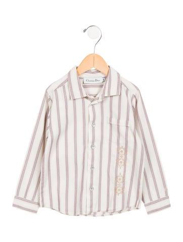 Christian dior boys 39 striped button up shirt boys for Christian dior button up shirt