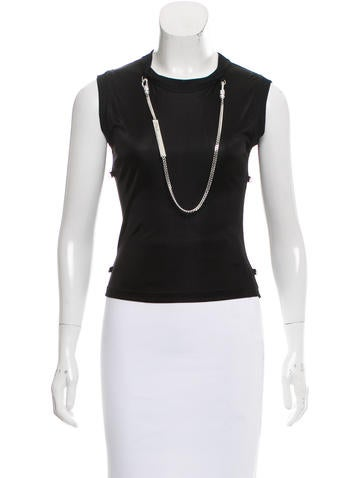 Christian Dior Chain-Accented Sleeveless Top None