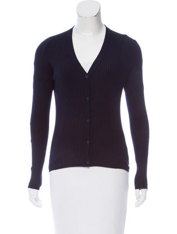 Christian Dior Cashmere Rib Knit Cardigan None