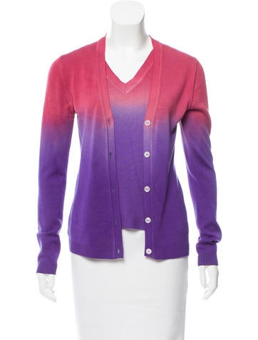 Christian Dior Ombré Wool-Blend Cardigan Set None