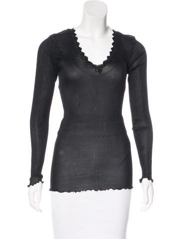 Christian Dior Long Sleeve Rib Knit Top None