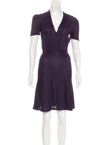 Christian Dior Rib Knit Knee-Length Dress None
