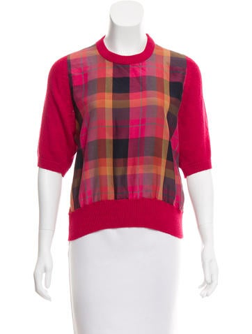Christian Dior Plaid Knit Top None
