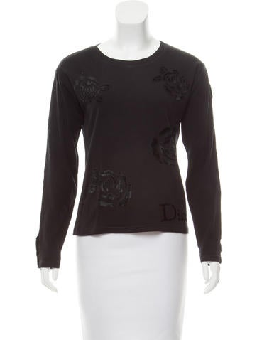 Christian Dior Long Sleeve Velvet-Accented Top None