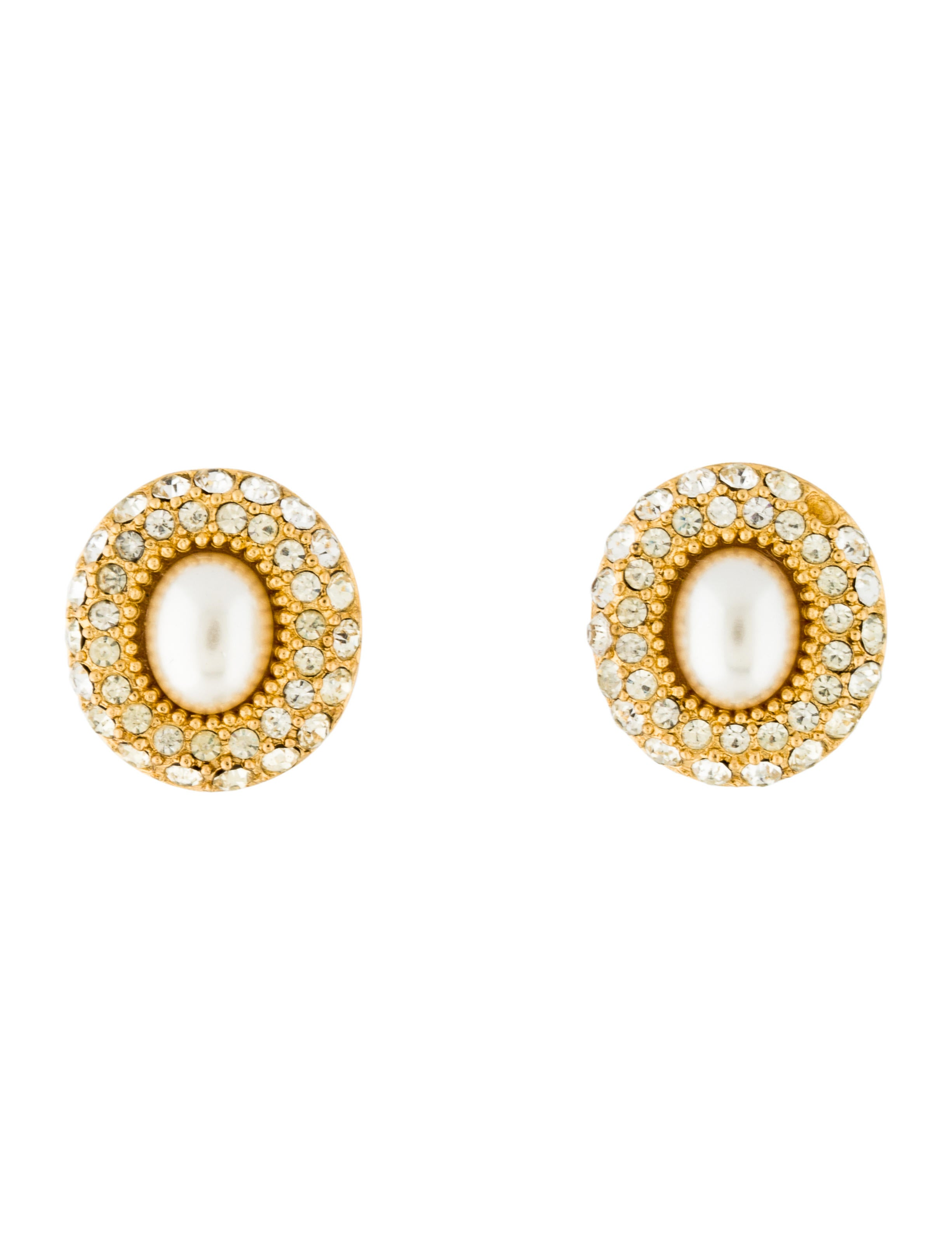 christian dior faux pearl crystal clip on earrings. Black Bedroom Furniture Sets. Home Design Ideas