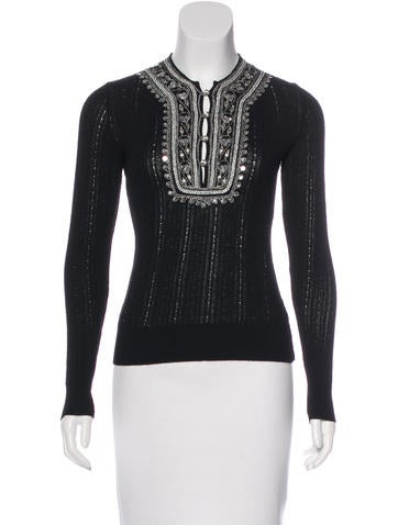 Christian Dior Embellished Long Sleeve Top None