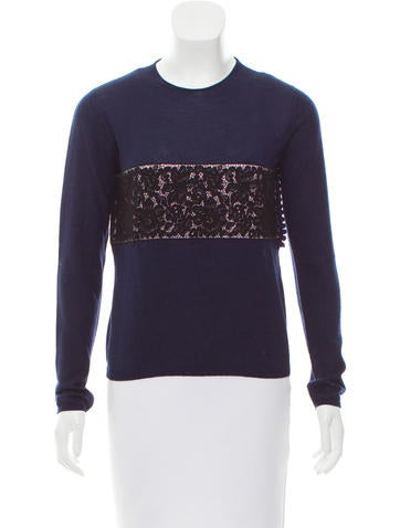 Christian Dior Lace-Trimmed Cashmere & Silk Sweater None