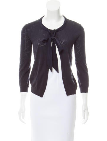 Christian Dior Pointelle Knit Wool Cardigan None