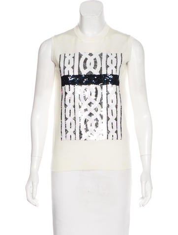 Christian Dior Sequin-Embellished Wool Top None