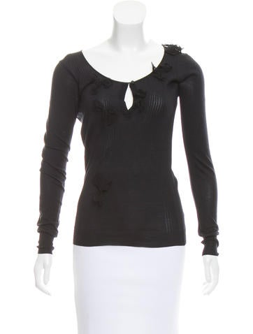 Christian Dior Long Sleeve Silk Top None