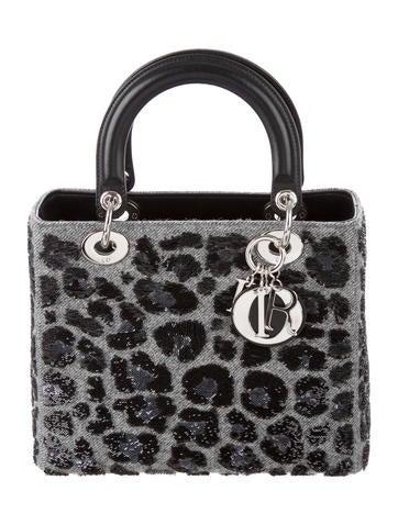 Christian Dior Wool Sequin Medium Lady Dior Bag None