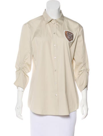 Christian Dior Embellished Button-Up Top None