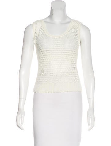 Christian Dior Sleeveless Open Knit Top None