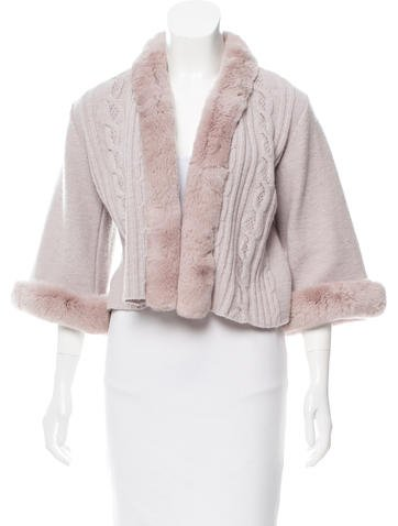 Christian Dior Cable Knit Fur-Trimmed Cardigan None