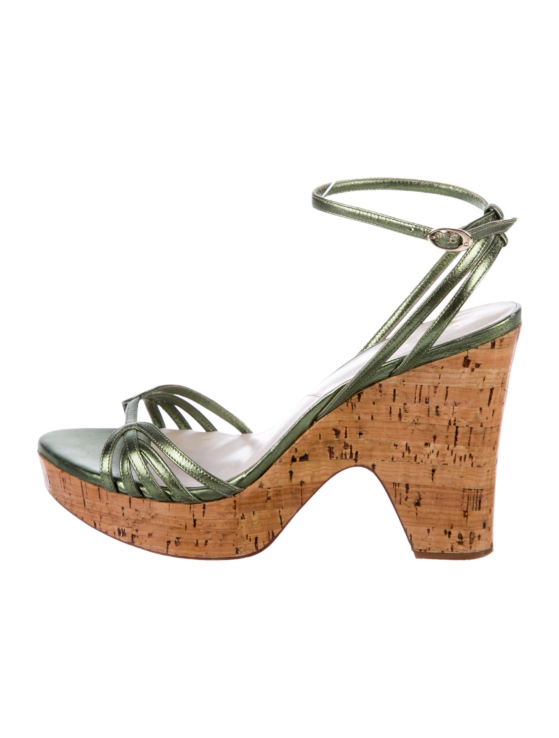 Christian Dior Metallic Ankle Strap Wedges free shipping really discount fast delivery cheap tumblr clearance reliable EyzAJs