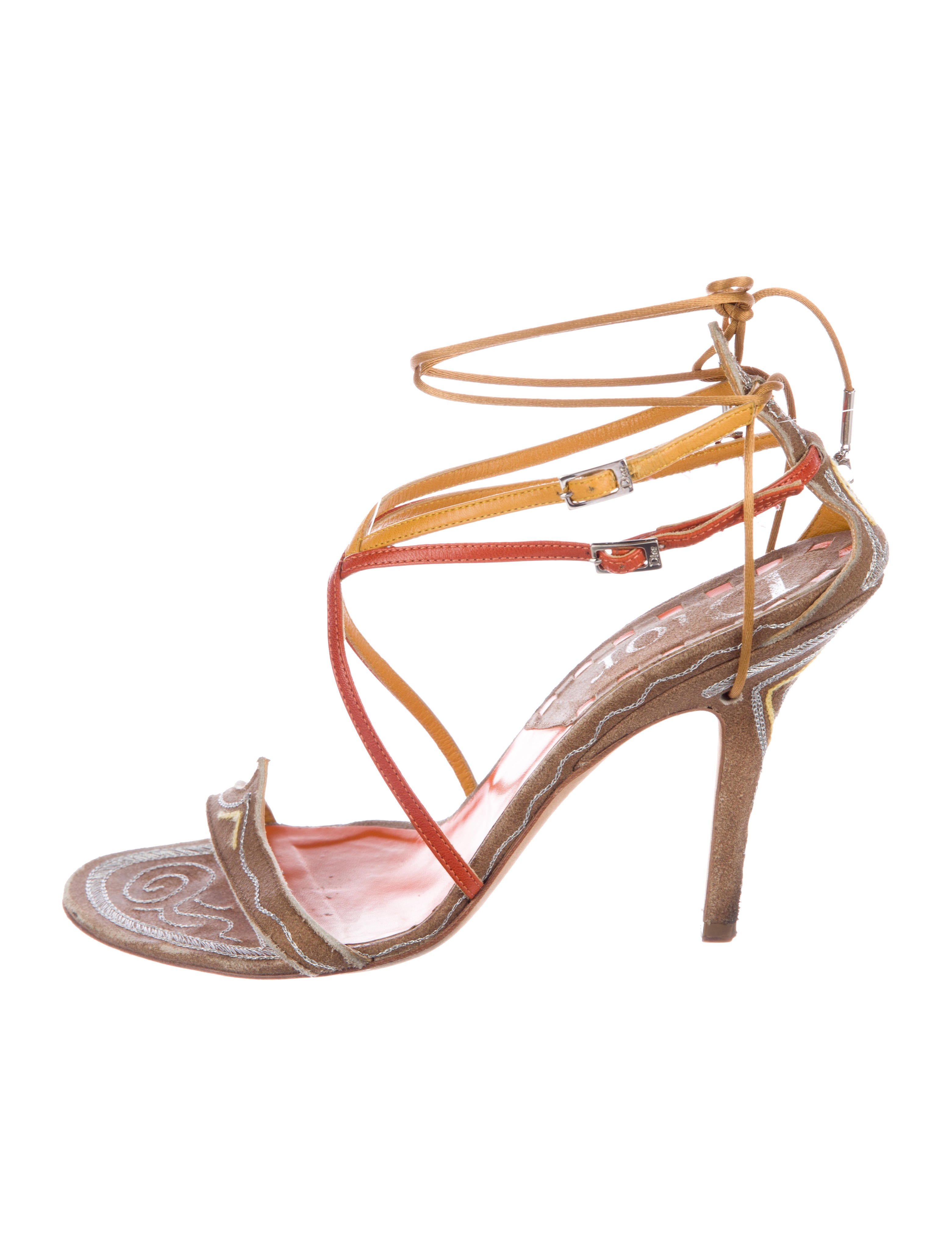 outlet 100% original official cheap price Christian Dior Suede Embellished Sandals in China cheap online free shipping deals for sale cheap authentic EKPcZ