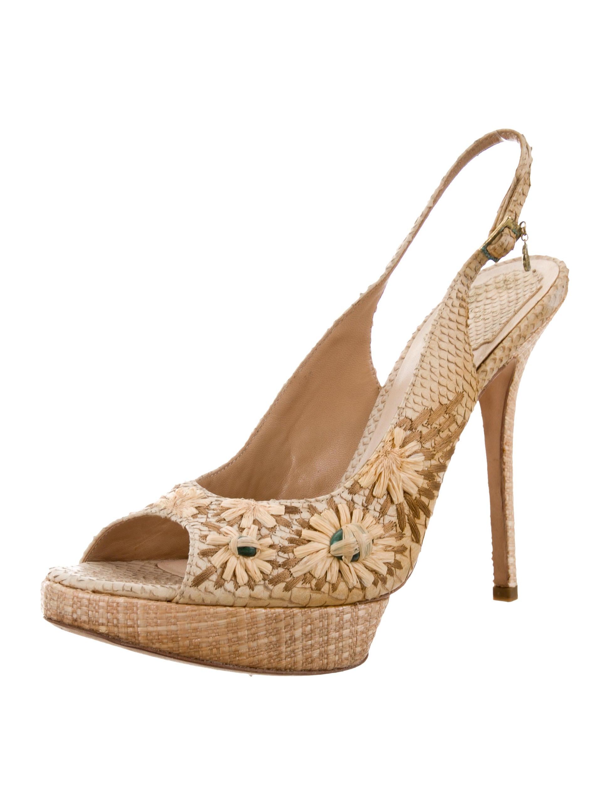 Christian Dior Raffia Slingback Sandals purchase sale online qu343DLov