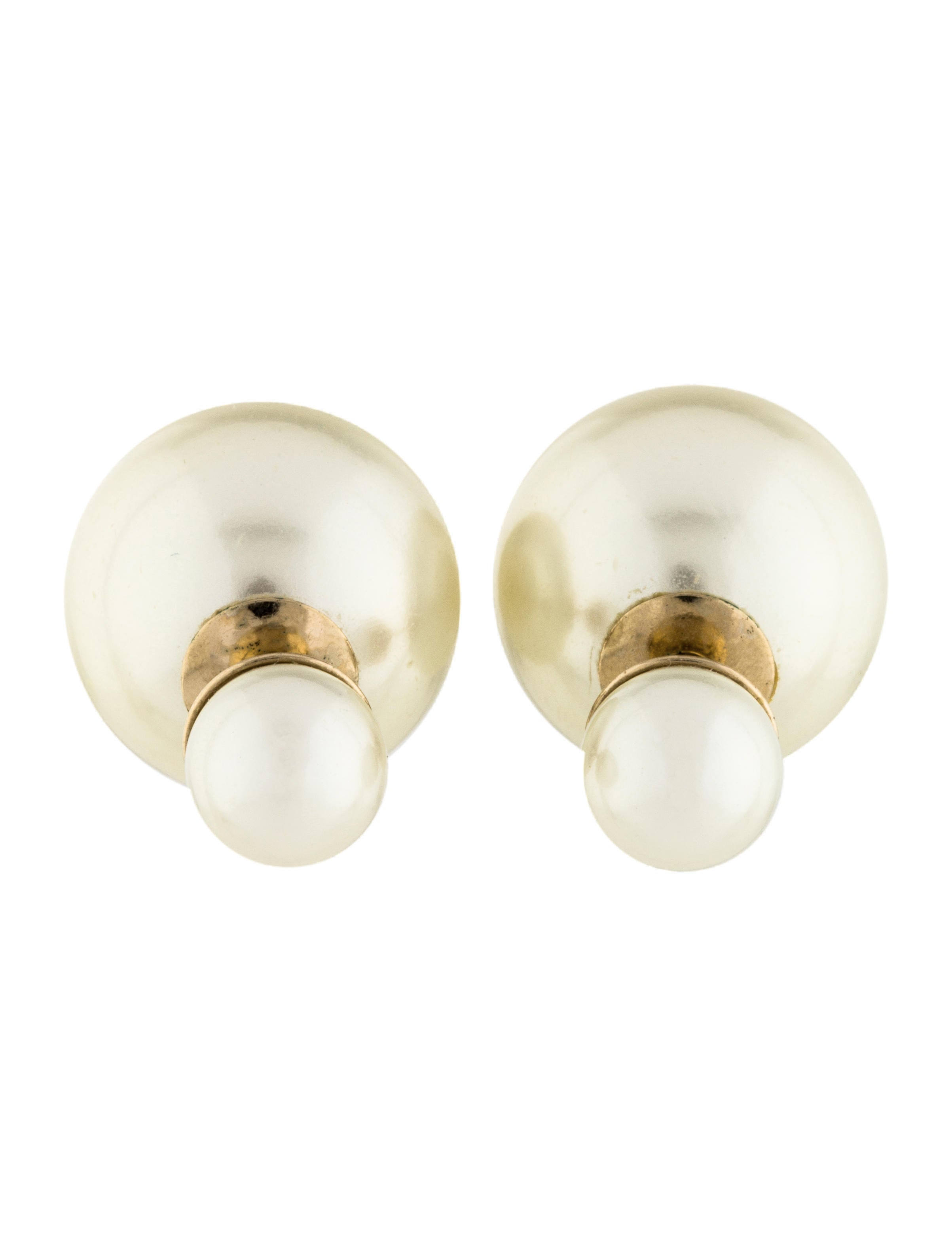 the enlarged clip on pearl studs faux products earrings realreal jewelry chanel stud