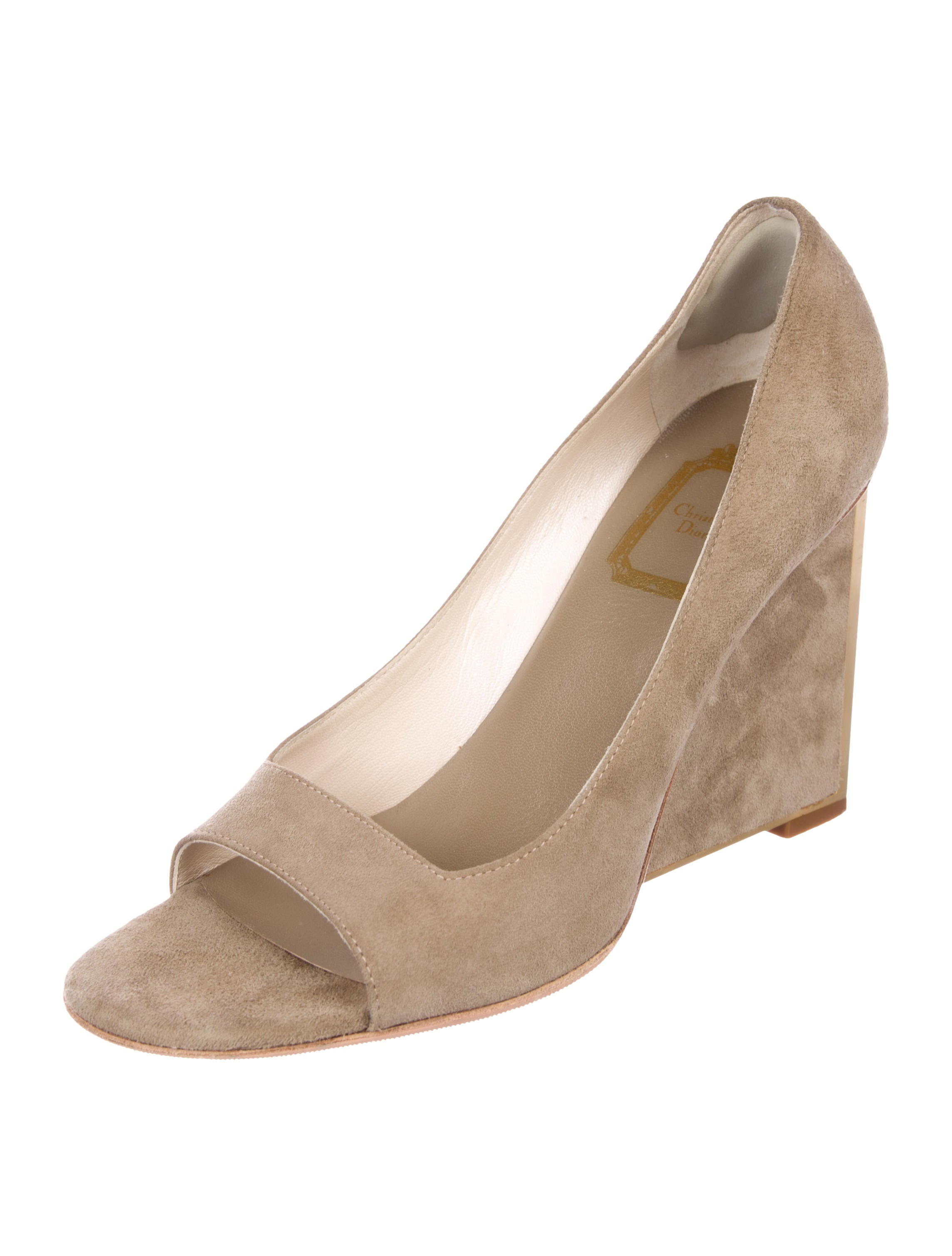 Christian Dior Suede Peep-Toe Wedges outlet professional jfdfv