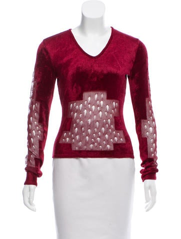 Christian Dior Textured Long Sleeve Top None