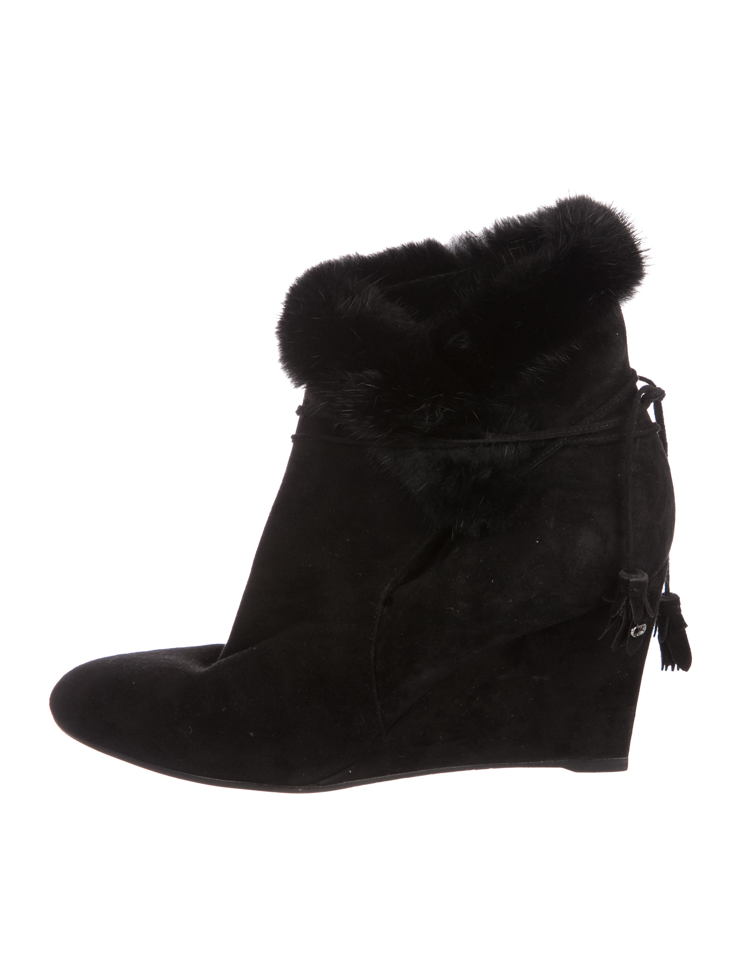 Christian Dior Mink-Trimmed Wedge Boots outlet sale fashion Style very cheap cheap online u1rnH