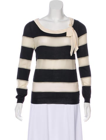 Christian Dior Striped Wool Top None