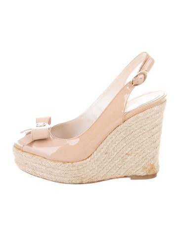 Christian Dior Bow-Accented Espadrille Wedges None