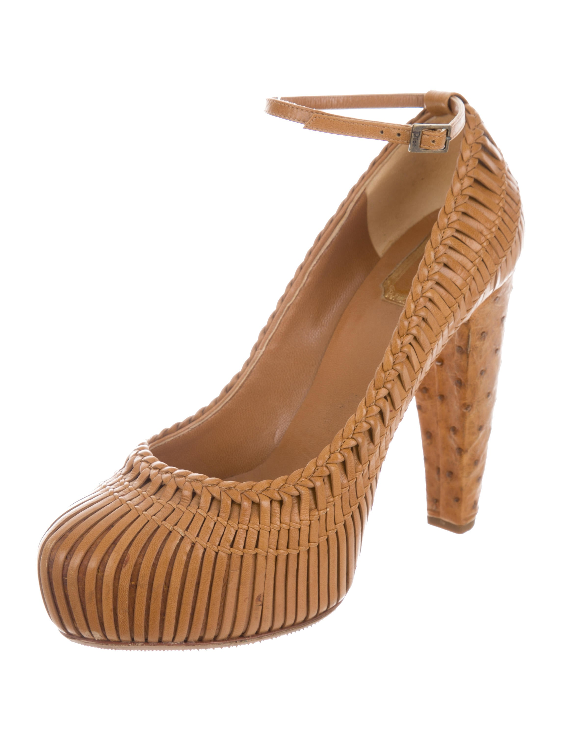 Christian Dior Ostrich-Trimmed Woven Pumps sale sast official site online Ph42wl