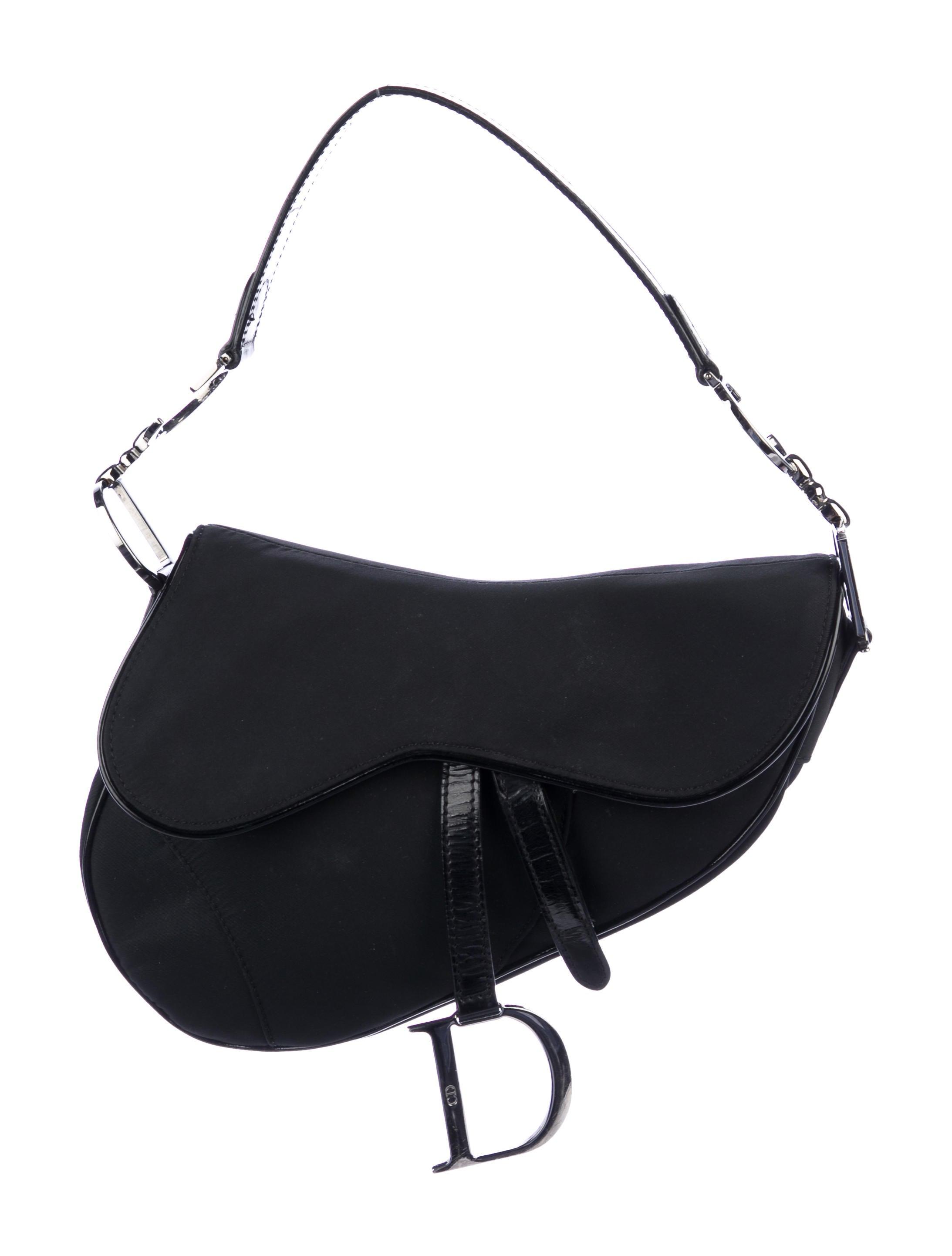 7b5c7d0f0817 Nylon Bag Christian Leather Dior Saddle Patent Trimmed waqTU for ...