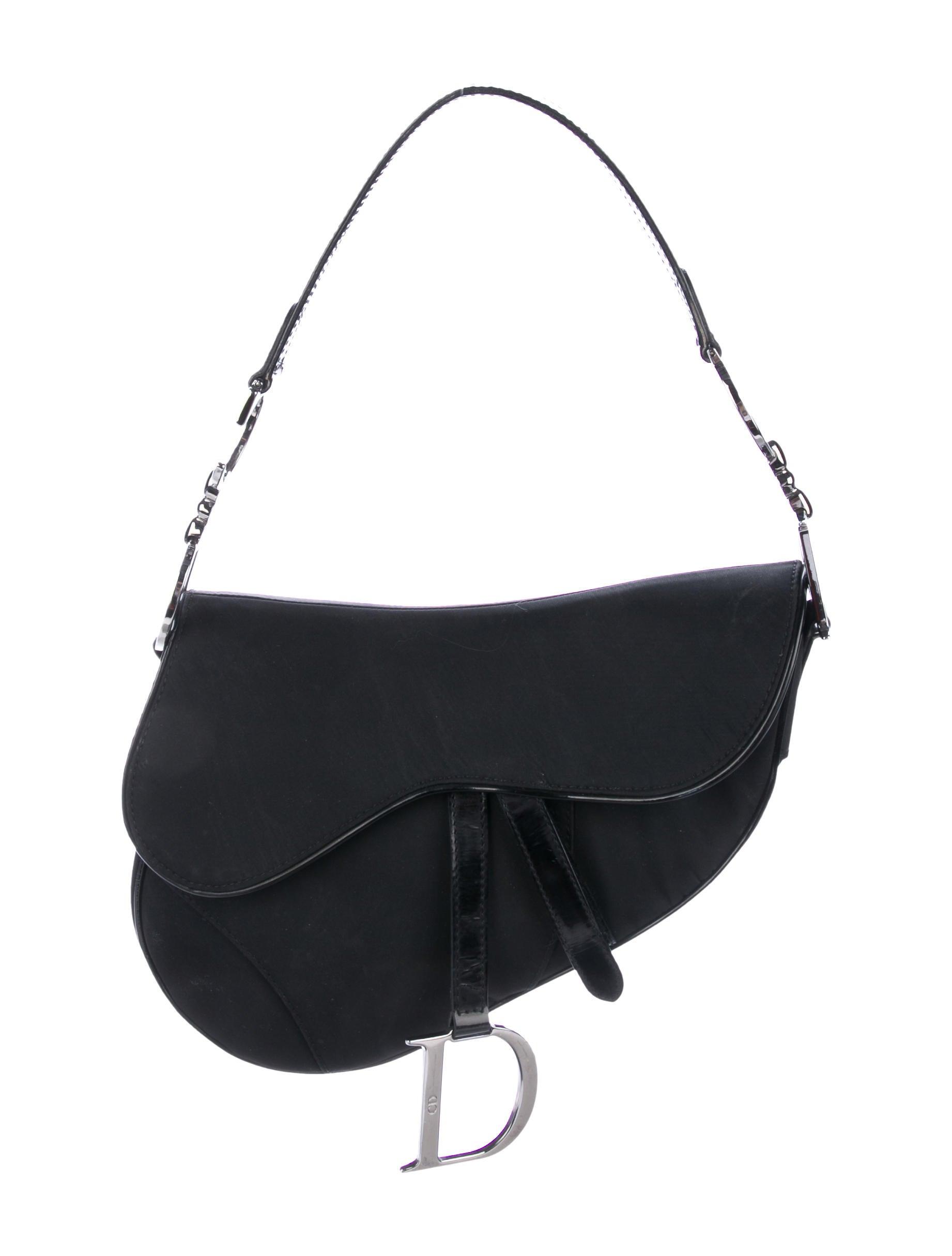27244c3a4c29 Christian Dior Patent Leather-Trimmed Saddle Bag - Handbags ...