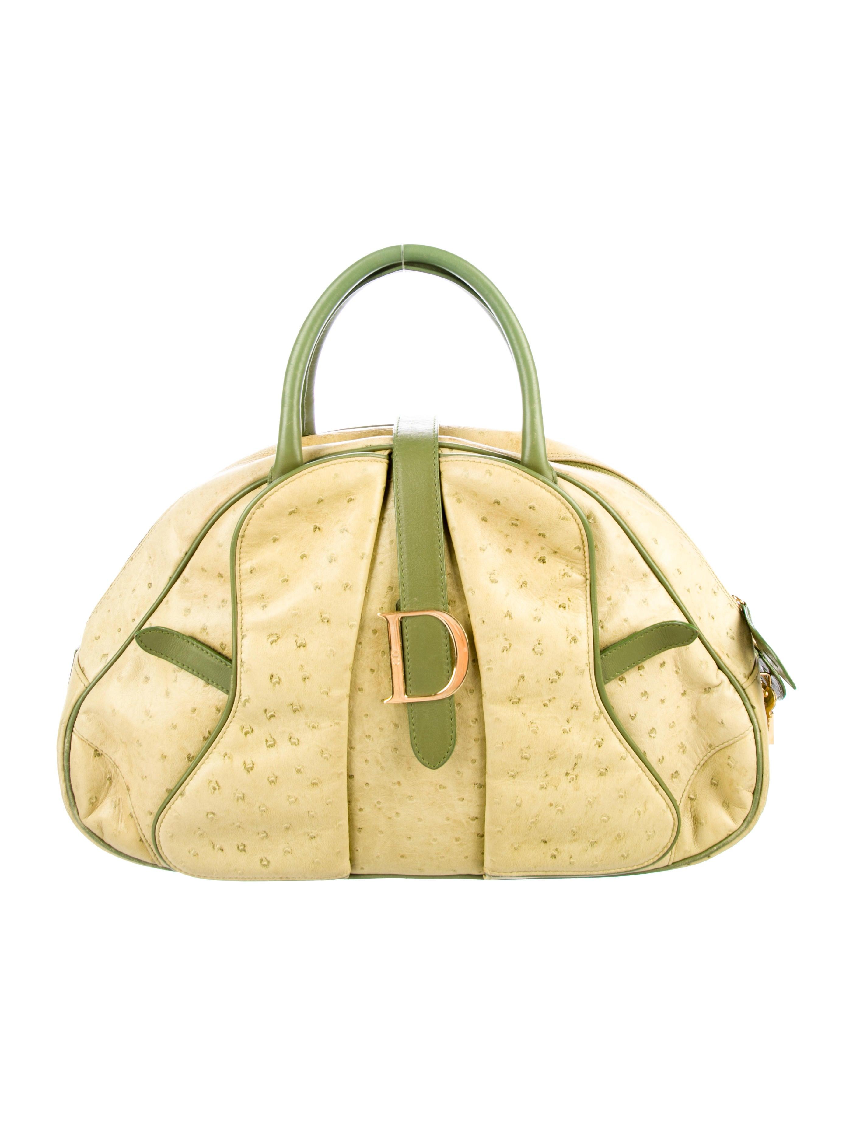 148270ad95d8 Christian Dior Ostrich Double Saddle Bag - Handbags - CHR85498