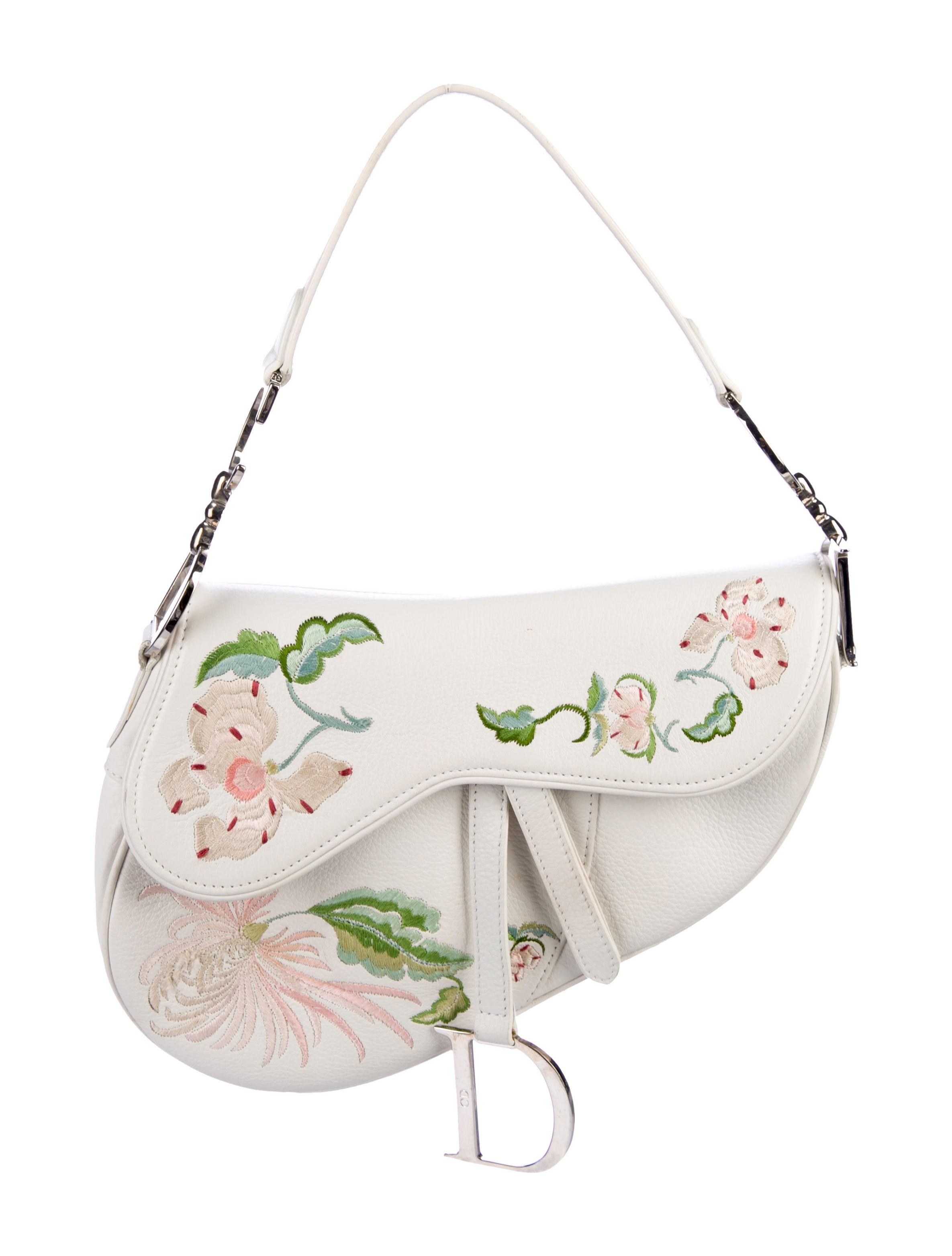 Christian Dior Embroidered Leather Saddle Bag - Handbags - CHR87765 ... 42098dfe885b8