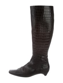 1751b40ef2c Christian Dior. Embossed Knee-High Boots