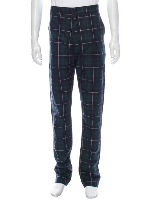Christos Plaid Print Pants Green