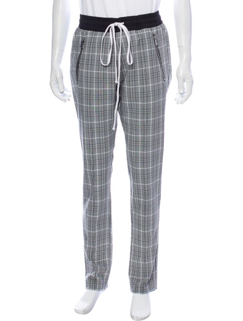 Christos Plaid Print Pants Grey