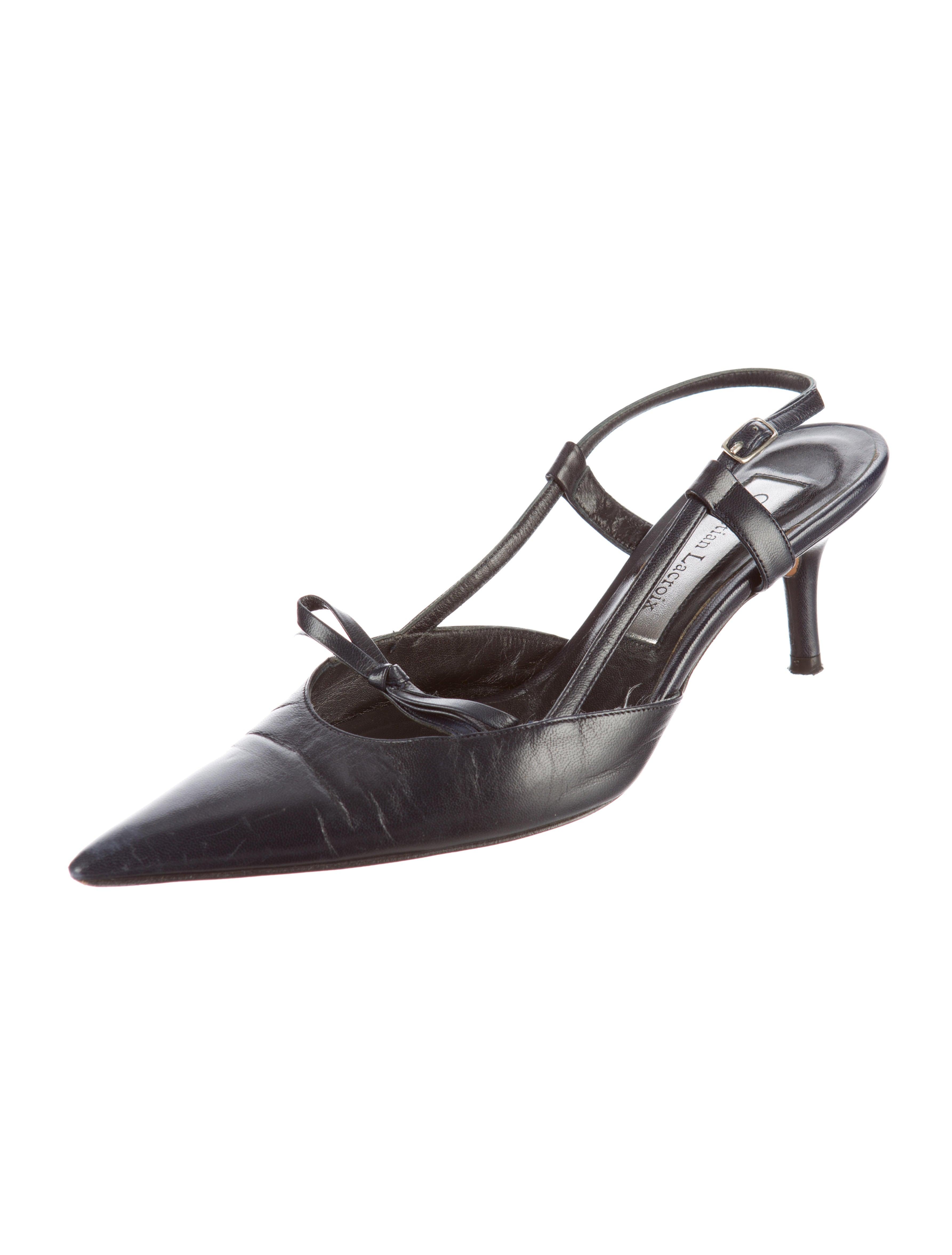 Christian Lacroix Leather Slingback Pumps Shoes